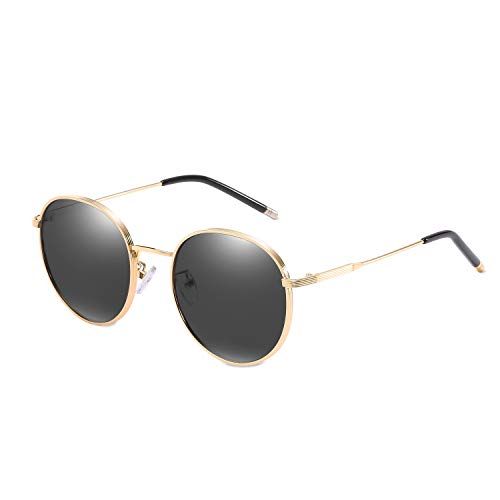 LumiSyne Mujer Retro gafas de sol polarizadas,gafas metálico redondas de estilo,y protección UV 400 al aire libre viajes(Negro)