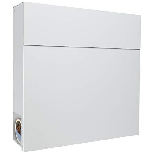Moderner Briefkasten mit Zeitungsfach weiß RAL 9003 MOCAVI Briefkasten Box 530 Postkasten groß mit Zeitungsrolle, Wand-Briefkasten wasserdicht deutsche Markenqualität