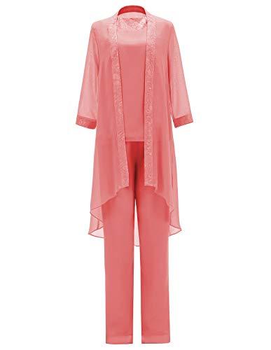 SOLOVEDRESS Traje de 3 piezas para mujer de gasa madre de la novia vestido pantalones trajes con chaqueta para boda - beige - 48
