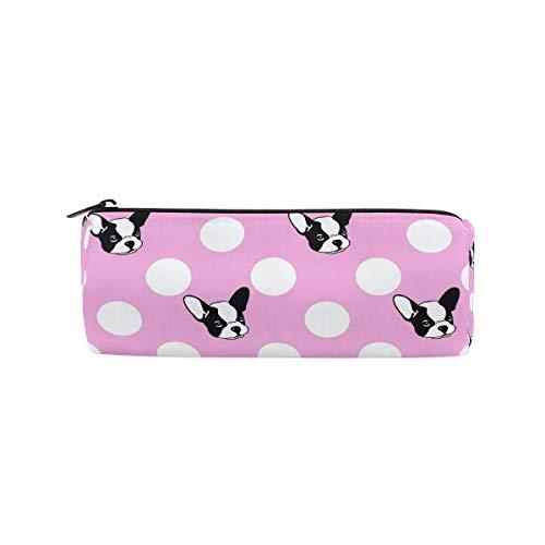 Bulldog - Estuche cilíndrico de lunares con cremallera, gran capacidad, para estudiantes, papelería, cosméticos y maquillaje