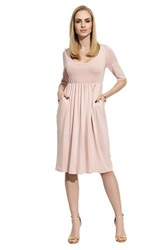 Folly-Mode Damen Mittellanges Kleid Dress Abendkleid Rundhalsausschnitt mit Raffungen Gr. S M L XL...