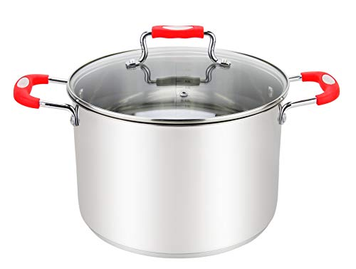 Millvado 4-Quart Stainless Steel Stockpot: Small Cooking Pot for Pasta, Sauce, Soup, and Stew - Stock Pot with Clear Glass Lid - Urban Collection Mirrored Stock Pots - Induction Compatible Boiling Pot