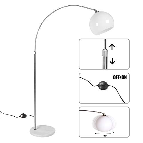 CCLIFE Lampada a Stelo, Lampada ad Arco con Base Rotonda in Marmo, Altezza Regolabile 130-180cm, 1 x E27, max. 60 W, Colore:Bianco