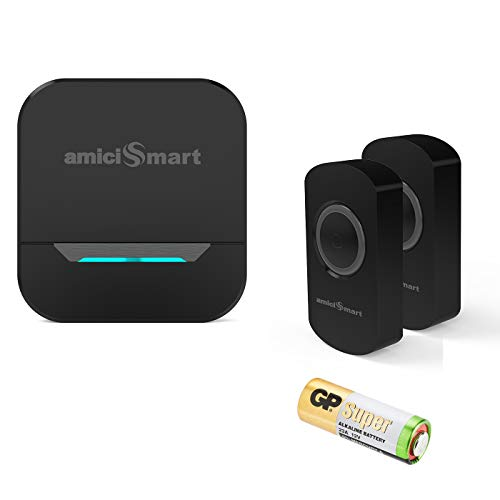 amiciSmart Long Range Wireless Doorbell Waterproof Push Button and Plug-in Receiver with LED Flash 32 Chime Tunes 3 Volume Levels with Battery (2 Transmitter a 1 Receiver) Black