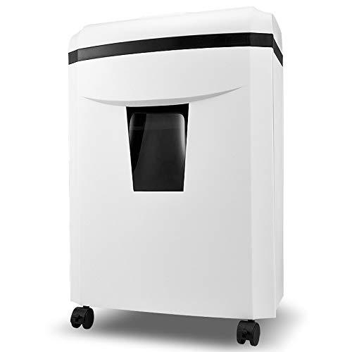 AmazonBasics - Destructora de papel, tarjetas de crédito y CD con recipiente separable,Trituradora de papel con 60 minutos de tiempo de funcionamiento continuo,White