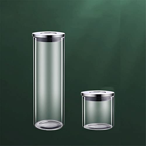 GLLP Caja De Almacenamiento De Cocina Caja De Almacenamiento Caja De Almacenamiento Tarro De Vidrio Tarro Refrigerador con Tapa Dispensador De Grano (Size : 500ml+1700ml)