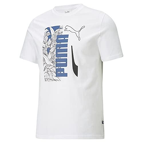 PUMA Summer Vibe tee B&T Camiseta, White-Star Sapphire-Zapatillas Deportivas, M Alto para Hombre