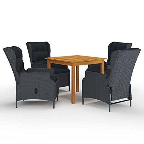vidaXL - Conjunto de comedor de jardín, 5 piezas, muebles de cena de terraza, mesa y sillas de comedor de patio, salón de jardín, exterior gris oscuro