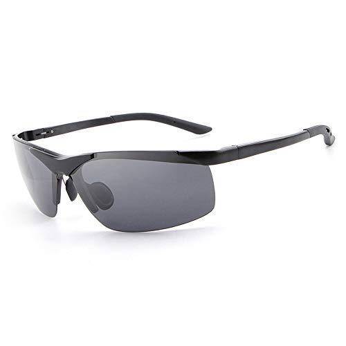 Yeeseu Gafas de sol del medio capítulo de las gafas de sol polarizadas for la pesca de los hombres gafas de sol de conducción Running 100% Protección UV400 gafas de moda (Color: Negro) Ciclismo, Corre