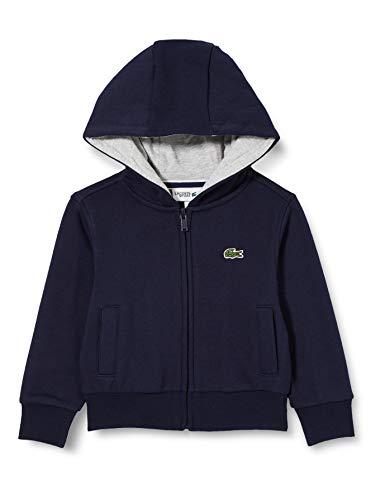 Lacoste Jungen Kapuzen Sweatshirt Jacke, Blau (Marine/Argent Chine), 14 Jahre (Herstellergröße: 14A)