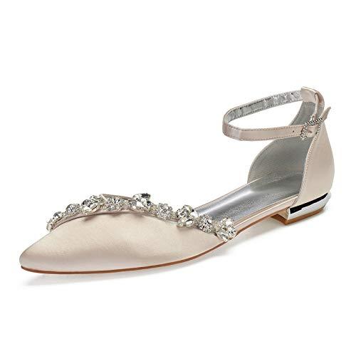 Charmstep Zapatos De Boda Plana para Mujer Punta Cerrada Bailarinas Correa De...