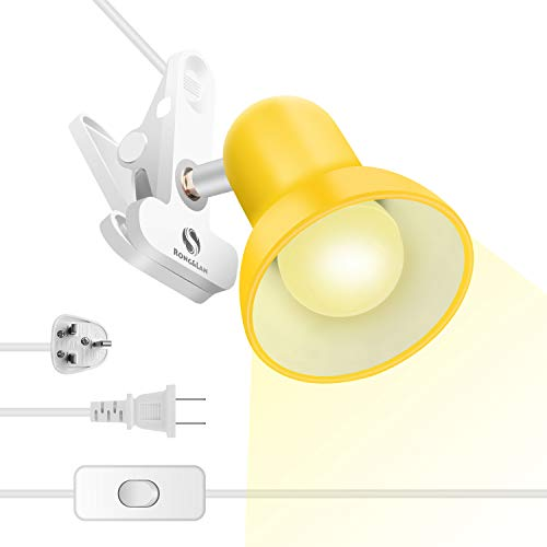 """Clip lamp,360° Rotation Clip on Lamp Portable Book Reading Light,Clamp on Desk/Table/Bunk Bed/Cupboard Home Lighting, (Clamp Light, Seven Colors for Your Choice)""""Yellow"""