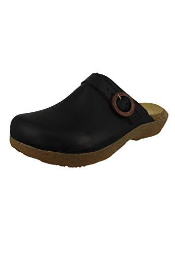 El Naturalista Damen Pantoletten WAKATIWAI, Frauen Clogs, Slides Sandale sommerschuh freizeitschuh weibliche Lady Ladies,Black,38 EU / 5 UK