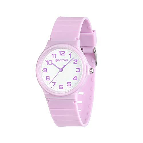 Reloj analógico para niños, 5ATM Resistente al Agua, fácil de Leer, Enseñanza del Tiempo Niños niñas Reloj, Reloj de Pulsera de Banda Suave para niños