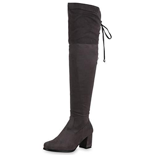 SCARPE VITA Damen Stiefel Overknees Leicht Gefütterte Boots Wildleder-Optik 169750 Grau 36