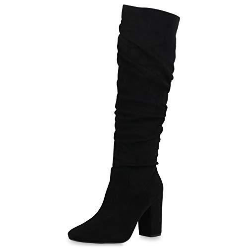 SCARPE VITA Damen Klassische Stiefel Veloursleder-Optik High Heels Blockabsatz Schuhe Slouch Boots Absatzschuhe 186438 Schwarz 39