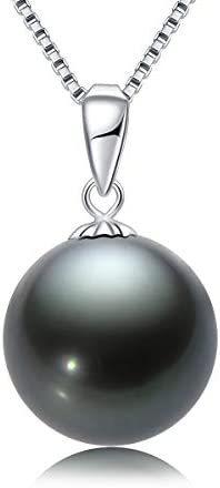 18K Gold Black Pearl Pendant Necklace 10 11mm Genuine Tahitian Cultured Round Pearls Pendant product image