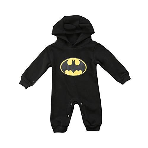 Baby Jungen Body Batman Strampler Herbst Langarm Baby Kapuze Einteiler Outfits Kleidung Neugeborene Säugling 0-24 Monate Gr. 9-18 Monate, Schwarz