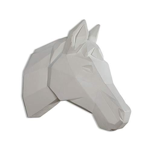 Skulptur Deko Pferdekopf Wandbehang Tier Schwarz Weiß Geometrische Stereo 3D Harz 26 * 13 * 25 cm Jahrestag