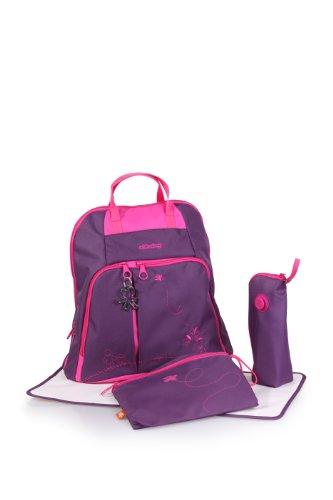 okiedog TREK 28307 Sac à dos à langer élégant avec anse, dos rembourré, bretelles souples, nombreux compartiments, avec crochet de poussette, matelas à langer, porte-bouteille isotherme et sac pour accessoires, violet Mondrian, env. 37 x 39 x 15 cm