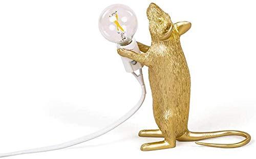 Lámpara Ratón Dorada De Pie