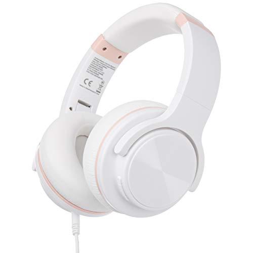 Amazon Basics – Auriculares inalámbricos circumaurales Bluetooth con conector microUSB y cable de audio de 3,5mm, blanco