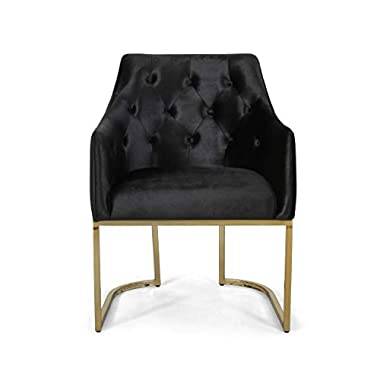 Christopher Knight Home Fern Modern Tufted Glam Accent Chair with Velvet Cushions and U-Shaped Base, Black and Gold…