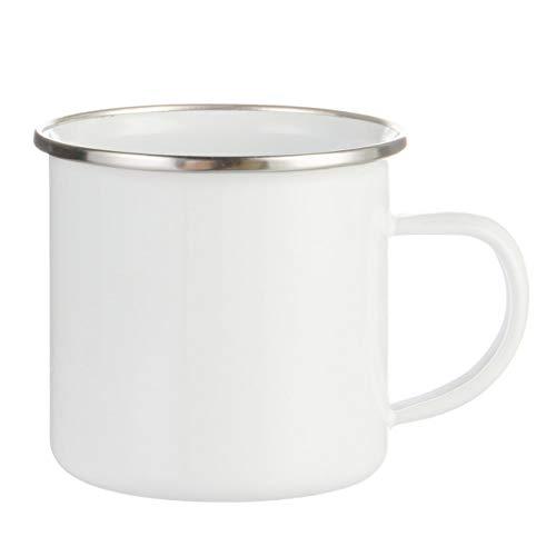 Printbox Emaille Tasse Becher Campingbecher 360ml in Weiß für Subimationsdruck, unbedruckt (6 Stück)