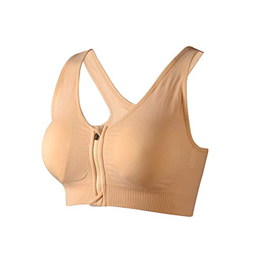 Fulier Damen Sport-BH mit Reißverschluss vorne, volle Unterstützung, hohe Schlagfestigkeit, kabellos, Fitnessstudio, Workout, Yoga Gr. 80C/D/85A/B-M, nude