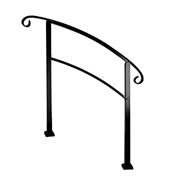 Cocopark 3-Step Adjustable Wrought Iron Handrail Railing Matte Black Stair Rail Fits 1 to 3 Steps