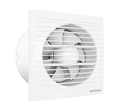 VENTEUROPE- Ventilador de baño Ø150 mm con Compuerta antirretorno+Mosquitera 290 m3 /h,Motor eléctrico de CA de 16 vatios,Ideal para baño,cocina