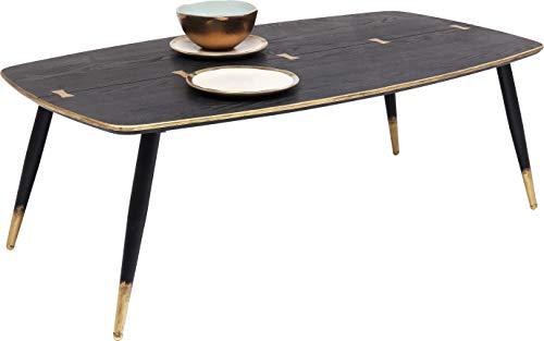 Kare Design Couchtisch Art Deco 110x60cm, abgerundeter Couchtisch für das Wohnzimmer mit zierlichen Beinen in Schwarz Gold, Ovaler Couchtisch, in modernem Design (H/B/T) 38x110x60cm
