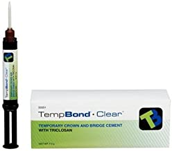 Kerr 33351 Temp-Bond Temporary Dental Cement Automix Syringe with Triclosan, Contains 1 Syringe (6 g Each) 10 Mixing Tips, Clear