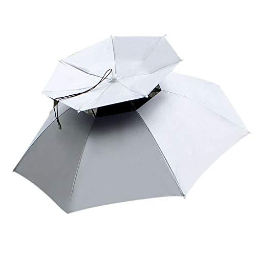FAMKIT Paraguas Medusa 77Cm Protector Solar a Prueba de Viento Montado en La Cabeza Paraguas Superior Plegable Sombrilla (Plata)