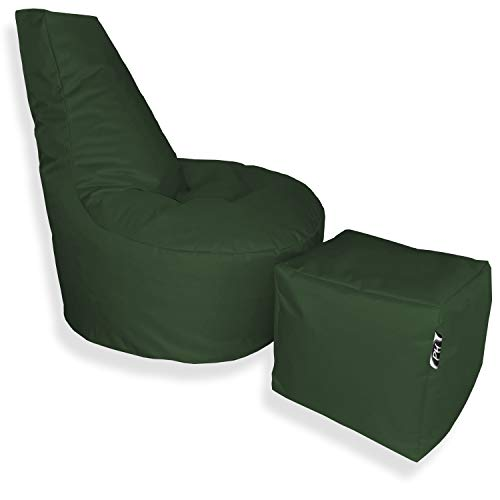 Patchhome Puf con forma de cubo y taburete, diámetro de 75 cm, altura de 80 cm, altura del asiento de 30 cm, cubo de 35 x 35 cm, relleno de poliestireno, en 2 tamaños, color verde oscuro