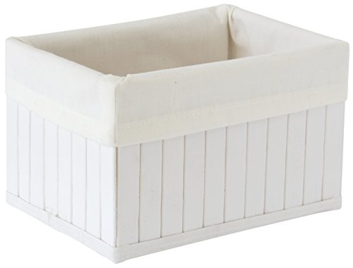 Gelco 708825 Panier de Rangement Bambou Blanc 18 x 13 x 11 cm Petit Modèle