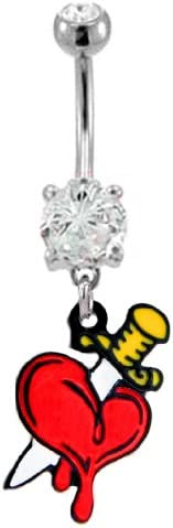 Clear cz gem Knife through the Heart blood dangle Belly button navel Ring piercing bar body jewelry 14g