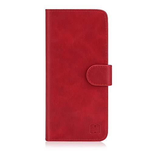 32nd Essential Series - PU Leder Mappen Hülle Flip Case Cover für Samsung Galaxy S10, Ledertasche hüllen mit Magnetverschluss & Kartensteckplatz – Rot