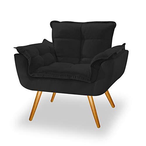 Poltrona Cadeira Decorativa Opala Corano Preto Pés Palito para Recepção Sala de Estar Consultório Escritório Quarto - AM Decor