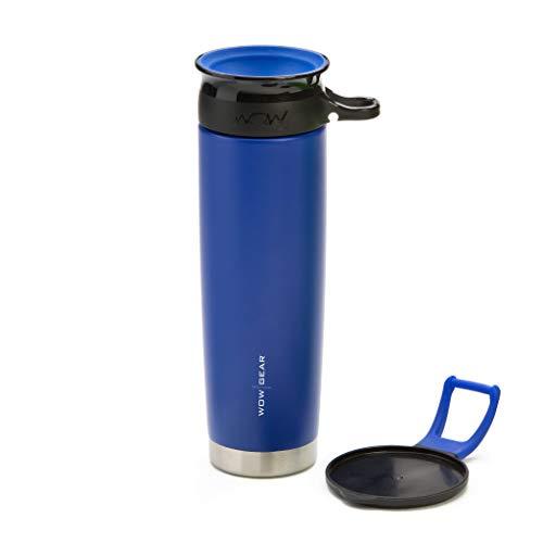 WOW GEAR - Botella deportiva de acero inoxidable aislada con doble pared antiderrames de 360°, 650 ml, Azul