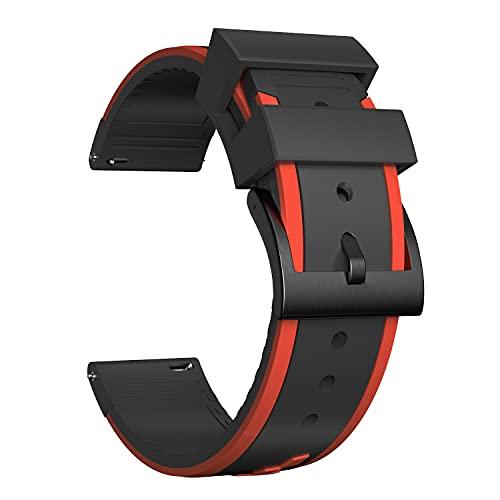 Ullchro Correa Reloj Recambios Correa Relojes Caucho Mujer Hombre - 20, 22, 24mm Silicona Correa Reloj con Hebilla de Acero Inoxidable Cepillado (24mm, Red & Black)