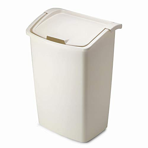 Rubbermaid FG280300BISQU Dual-Action Swing Lid Trash Can for Home, Kitchen, and Bathroom Garbage, 11.25 Gallon, Off-White Bisque, 45-quart, Tan