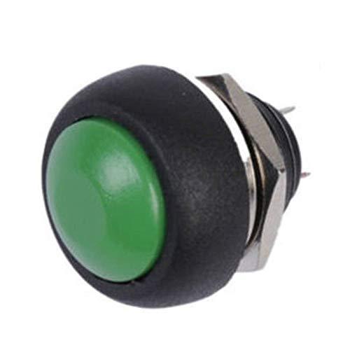 Interruptor Botón pulsador momentáneo para el hogar Accesorios pequeños Interruptor de botón de bocina de reinicio redondo (Color: Verde)