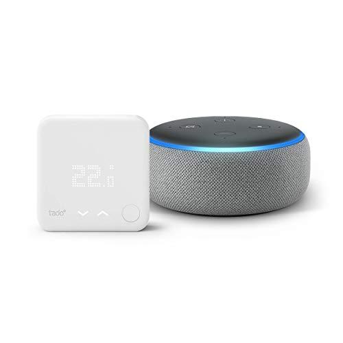 Echo Dot (3ème génération), Enceinte connectée avec Alexa, Tissu gris chiné + Thermostat Intelligent Kit de Démarrage V3+ - Contrôle intelligent du chauffage