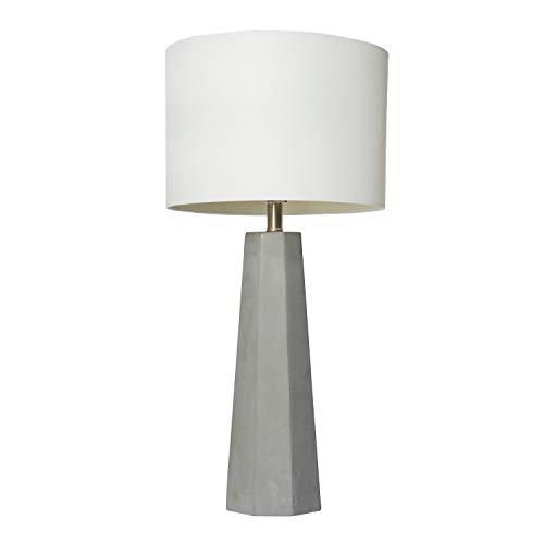 Elegant Designs LT3324-WHT Concrete Fabric Shade Table Lamp, White