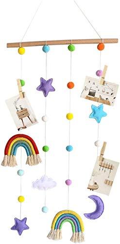 Colgador de fotos para colgar fotos para habitación de niños, hecho a mano, decoración de pared, diseño de pompones de arco iris, decoración de fondo de macramé para colgar en la pared