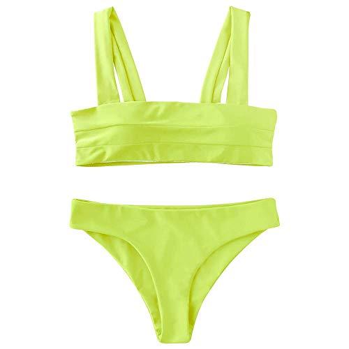 ZAFUL Women's Wide Straps Padded Bandeau Bikini Set (S, Neon Yellow)