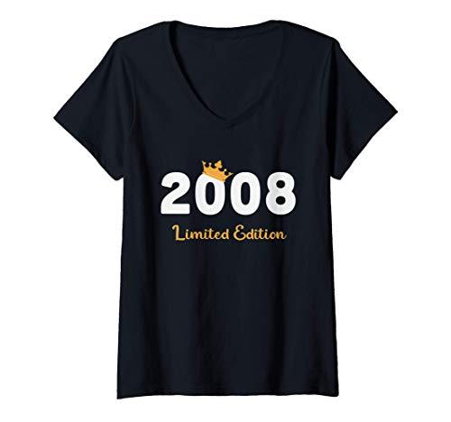 Donna 13 Anni Compleanno Ragazzo Uomo Donna Regalo Anno 2008 Maglietta con Collo a V