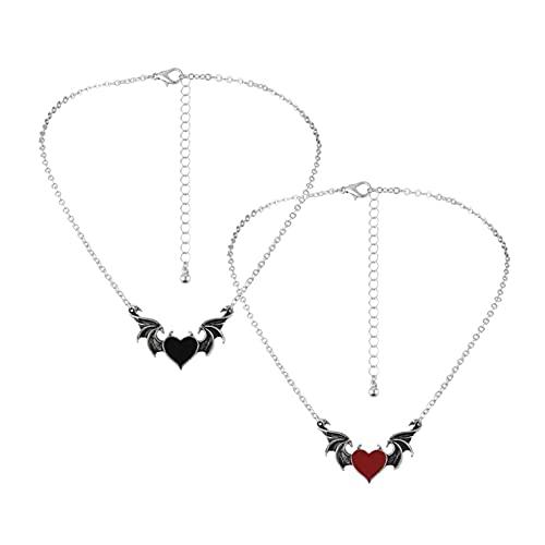 YUECI 2PCS Kreative Teufel Herz Halskette Legierung Tropfen Nektarine Herz Dämonenflügel Anhänger Halskette Schmuck halsketten für frauen abschlussgeschenk für sie