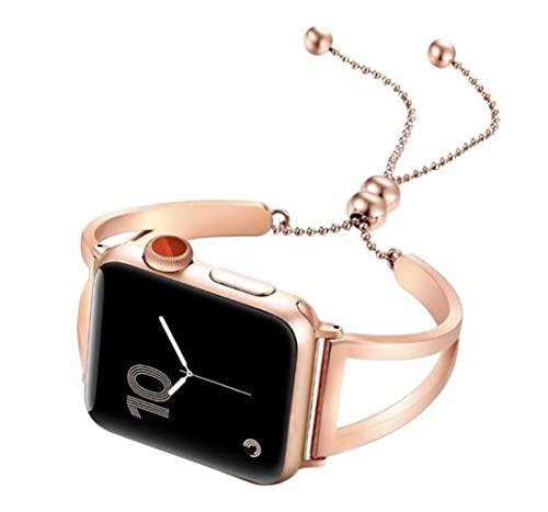 LINMAN Pulsera Strap Watch Bands Mujeres 38 42 40 44mm Cinturón de Acero Inoxidable Pulsera Serie de Metal SE 6 5 4 3 2 1 (Color : Rose Gold, tamaño : 38mm 40mm)